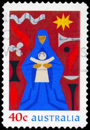 australia stamp: AUSTRALIA - CIRCA 1999: A Stamp printed in AUSTRALIA shows the Madonna and Child, Christmas issue, circa 1999 Editorial