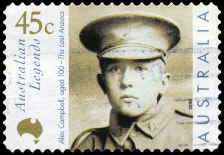AUSTRALIA - CIRCA 2000: A Stamp printed in AUSTRALIA shows the portrait of an Alec Campbell, Australian Legends series, circa 2000