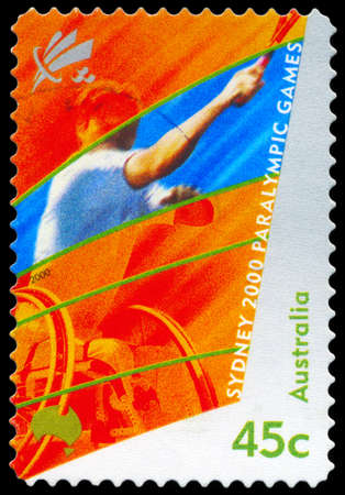 AUSTRALIA - CIRCA 2000: A Stamp printed in AUSTRALIA shows the Wheelchair Tennis, 2000 Paralympics, Sydney, series, circa 2000