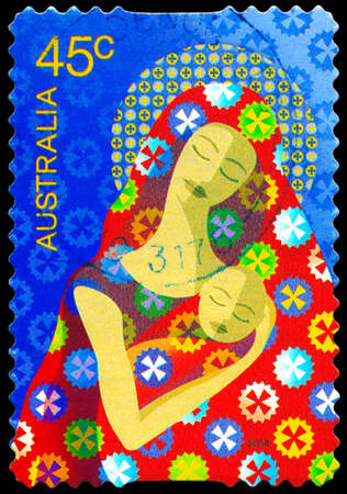 AUSTRALIA - CIRCA 2004: A Stamp printed in AUSTRALIA shows the Madonna and Child, Christmas series, circa 2004