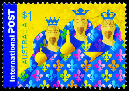 magus: AUSTRALIA - CIRCA 2004: A Stamp printed in AUSTRALIA shows the Image of Magi, Christmas series, circa 2004