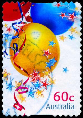 AUSTRALIA - CIRCA 2010: A Stamp printed in AUSTRALIA shows the Three balloons, Christmas issue, circa 2010