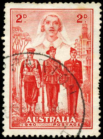 conscription: AUSTRALIA - CIRCA 1940: A Stamp printed in AUSTRALIA shows the Nurse, Sailor, Soldier and Aviator, Australia's participation in WWII, series, circa 1940