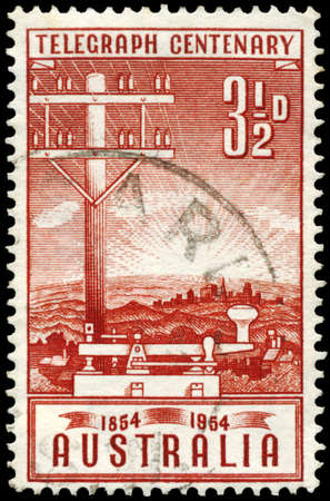 bug key: AUSTRALIA - CIRCA 1954: A Stamp printed in AUSTRALIA shows the Telegraph Pole and Key, Inauguration of the telegraph in Australia, centenary, circa 1954 Stock Photo