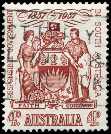 AUSTRALIA - CIRCA 1957: A Stamp printed in AUSTRALIA shows the South Australia Coat of Arms, Centenary of responsible government, circa 1957 Stock Photo - 17422744