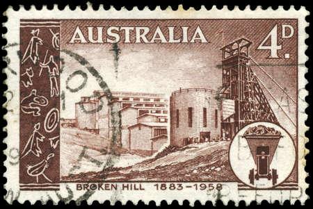 broken hill: AUSTRALIA - CIRCA 1958: A Stamp printed in AUSTRALIA shows the Broken Hill Mine, Mining Field, 75th anniversary, circa 1958 Stock Photo