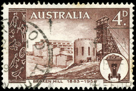 AUSTRALIA - CIRCA 1958: A Stamp printed in AUSTRALIA shows the Broken Hill Mine, Mining Field, 75th anniversary, circa 1958 Stok Fotoğraf