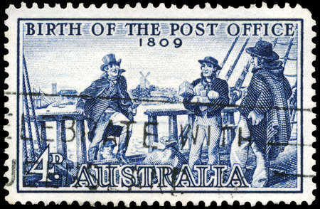 postmaster: AUSTRALIA - CIRCA 1959: A Stamp printed in AUSTRALIA shows the Postmaster Isaac Nichols boarding the Brig, 150th Anniversary of the Australian Post Office, circa 1959 Editorial