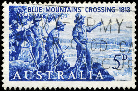 lawson: AUSTRALIA - CIRCA 1963: A Stamp printed in AUSTRALIA shows the Explorers Blaxland, Lawson and Wentworth looking West from Mount York, 1st crossing of the Blue Mountains, 150th anniversary, circa 1963