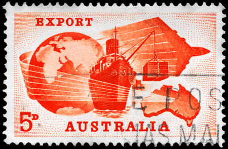 AUSTRALIA - CIRCA 1963: A Stamp printed in AUSTRALIA shows the Globe, Ship, Plane and Map, Importance of exports to Australian economy, circa 1963 photo
