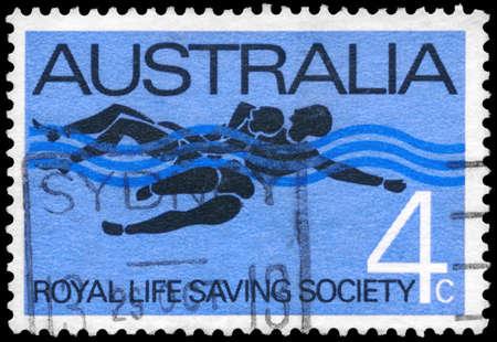 life saving: AUSTRALIA - CIRCA 1966: A Stamp printed in AUSTRALIA shows the Rescue, Royal Life Saving Society, 75th anniversary, circa 1966