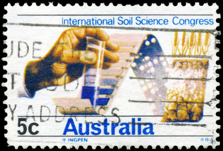 AUSTRALIA - CIRCA 1968: A Stamp printed in AUSTRALIA shows the Soil Testing through Chemistry and by Computer, 9th International Congress of Soil Science, circa 1968 Stock Photo - 17422749