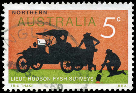 AUSTRALIA - CIRCA 1969: A Stamp printed in AUSTRALIA shows the Ford Truck, Surveyors Lieuts. Hudson Fysh and P.J. McGinness, series, circa 1969 Stock Photo - 17422771