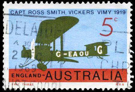 vickers: AUSTRALIA - CIRCA 1969: A Stamp printed in AUSTRALIA shows the Vickers Vimy flown by Ross Smith, England to Australia, series, circa 1969 Stock Photo