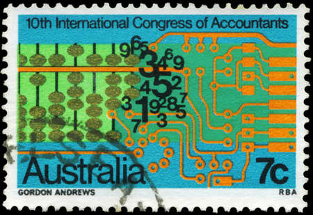 AUSTRALIA - CIRCA 1972: A Stamp printed in AUSTRALIA shows the Abacus, Numerals, Computer Circuits , 10th International Congress of Accountants, circa 1972 Stock Photo - 17422746