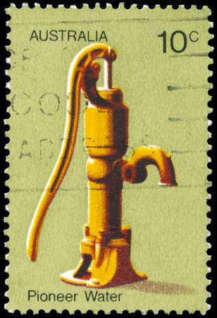 AUSTRALIA - CIRCA 1972: A Stamp printed in AUSTRALIA shows the Water Pump, Australian Pioneer Life, series, circa 1972 Stock Photo - 17422778