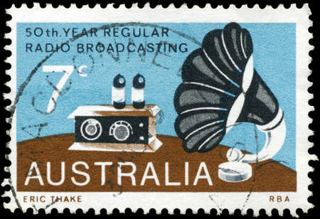 AUSTRALIA - CIRCA 1973: A Stamp printed in AUSTRALIA shows the Radio and Gramophone Speaker, Broadcasting in Australia, 50th annivesary, circa 1973 photo