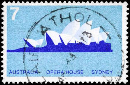 house series: AUSTRALIA - CIRCA 1973: A Stamp sheet printed in AUSTRALIA shows the Sydney Opera House, series, circa 1973