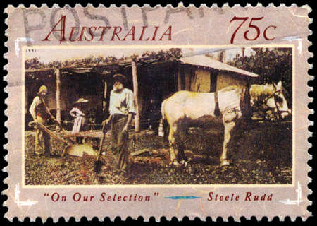 rudd: AUSTRALIA - CIRCA 1991: A Stamp printed in AUSTRALIA shows the On Our Selection, by Steele Rudd (1868-1935), Australian Literature of the 1890s, series, circa 1991