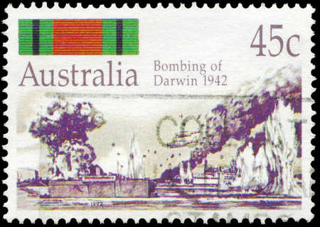 AUSTRALIA - CIRCA 1992: A Stamp printed in AUSTRALIA shows the Bombing of Darwin, 50th Anniversary of Second World War Battles, series, circa 1992 Stock Photo - 17422802