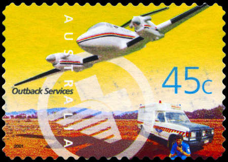 AUSTRALIA - CIRCA 2001: A Stamp printed in AUSTRALIA shows the Royal Flying Doctor Service Aircraft and Ambulance, Outback Services, series, circa 2001