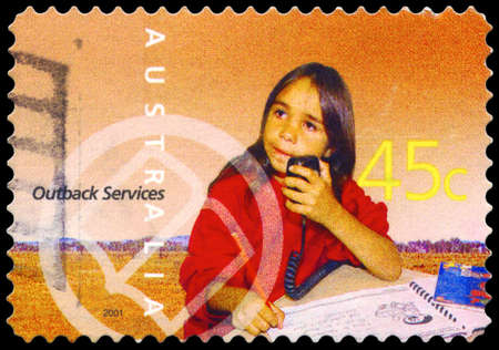 AUSTRALIA - CIRCA 2001: A Stamp printed in AUSTRALIA shows the School of the Air Pupil, Outback Services, series, circa 2001