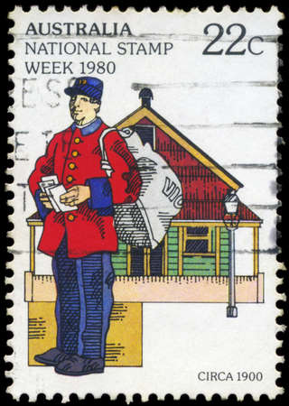 AUSTRALIA - CIRCA 1980: A Stamp printed in AUSTRALIA shows the Postman, National Stamp Week, series, circa 1980 Stock Photo - 18723840