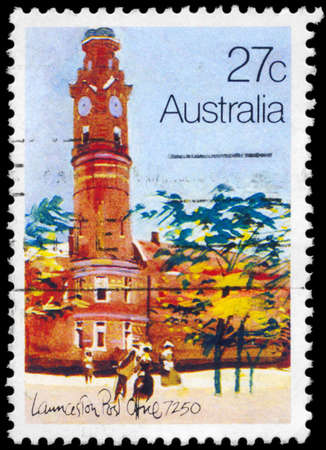 AUSTRALIA - CIRCA 1982: A Stamp printed in AUSTRALIA shows the Historic Australian Post Offices, Launceston, series, circa 1982