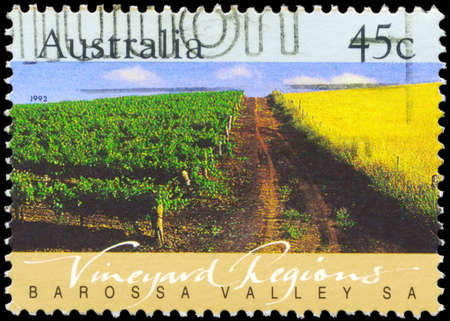 earthroad: AUSTRALIA - CIRCA 1992: A Stamp printed in AUSTRALIA shows the Barossa Valley, Vineyard Regions, South Australia, series, circa 1992 Editorial