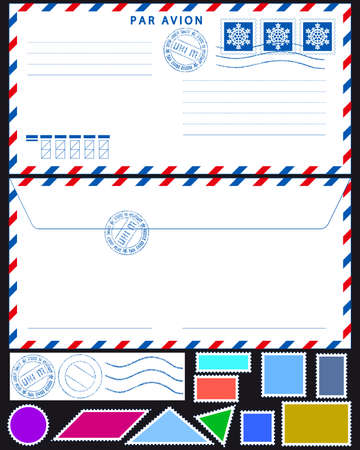 Airmail envelope with stamps collection on black Stock Vector - 19615298