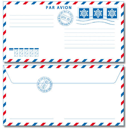 Airmail envelope with stamps. Used Drop  Shadow effect. Stock Vector - 19615305