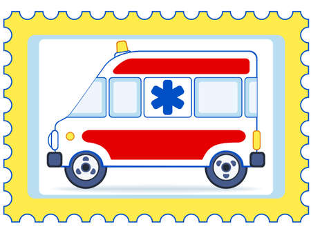 Emergency car on a postage stamp Vector