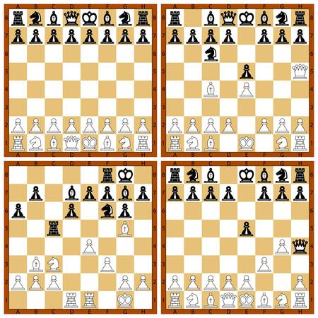The various chess position on the white Vector