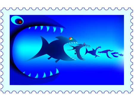 d�vorer: pr�dateurs de poissons sur un timbre-poste Illustration