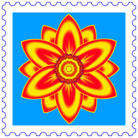 abloom: Abstract flower on a postage stamp