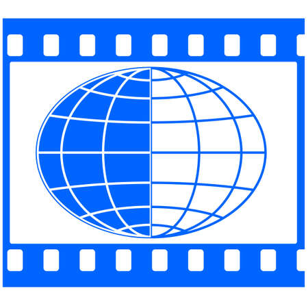 Globe in the film strip frame Vector