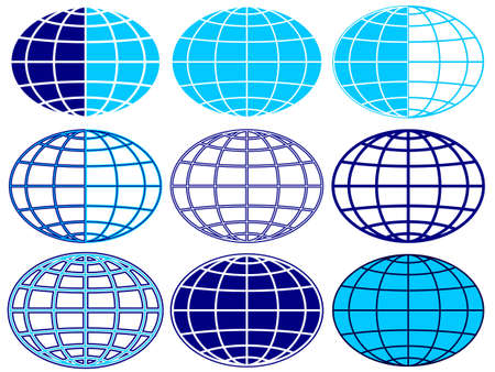 Set of the globe icons Stock Vector - 19615274