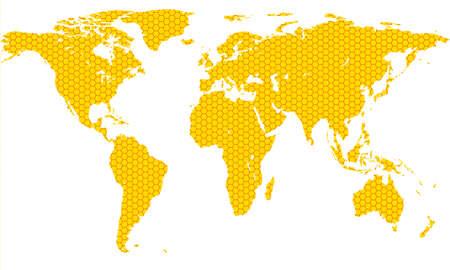 honeycombed: Honeycomb map of the world.