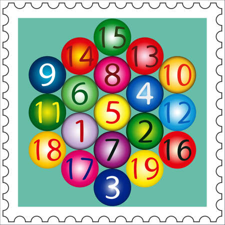 straight path: Magic Hexagon (amount of any straight path is 38) on postage stamp Illustration