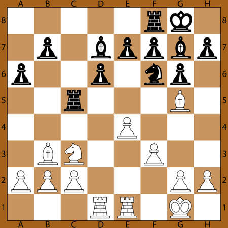 The middle game chess position on the chessboard Çizim