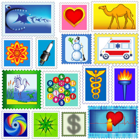 camel post: The set of various postage stamps Illustration