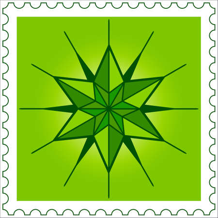 hexagram: Abstract Star on postage stamp