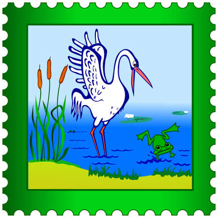 Stork and frog on a postage stamp Vector