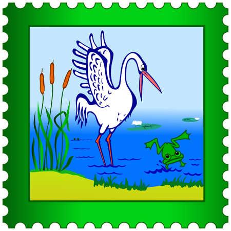 wader: Stork and frog on a postage stamp