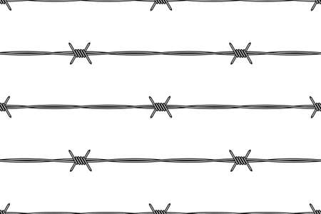 barbed wire fence: Seamless pattern of the barbed wire