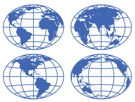 Set of the globe icons Vector