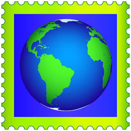 Globe on the postage stamp.  Stock Vector - 21319235