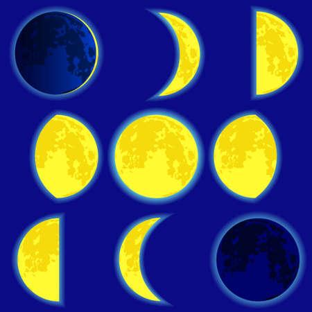 空の背景に月面の位相。  イラスト・ベクター素材