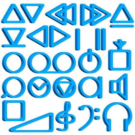 Collection of the tape recorder symbols Stock Vector - 21319263