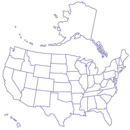 Contour map of the USA. Source of map:   http:www.lib.utexas.edumapsunited_statesn.america.jpg. Alaska and Hawaii are located in different layers. Illustration